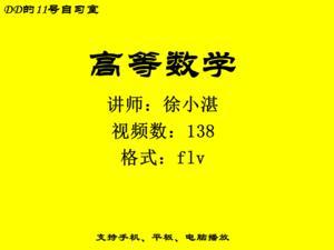 徐小湛高等数学138讲 四川大学视频教程免费下载